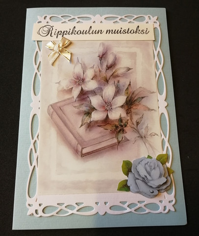 Confirmation school card book and flowers