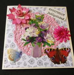 Kortti kukkakimppu maljakossa