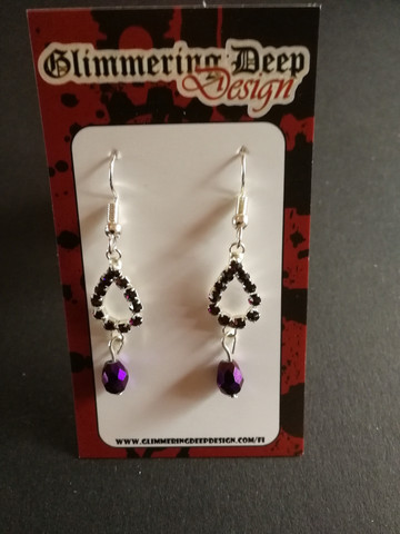 Violet drop earrings with strass