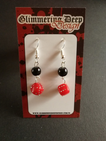 Black and red dice earrings