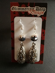 Large patterned drop gothic earrings