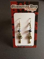 Key earrings with black beads