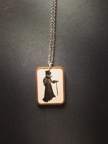 Gray Plague Doctor Necklace