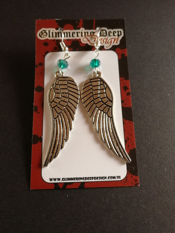 Wing earrings with ocean green beads