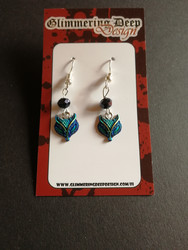 Blue fox earrings