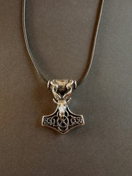 Thor's hammer necklace  bearded goat's head with black cord