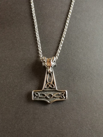 Thor's hammer necklace goat's head with chain