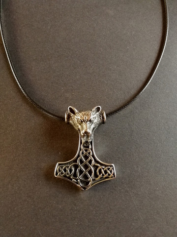 Thor's hammer necklace wolf with black cord
