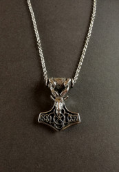 Thor's hammer necklace bearded goat's head with chain