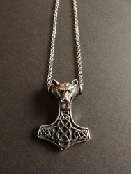 Thor's hammer necklace wolf with chain