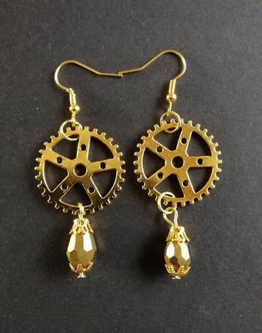 Golden Gear Earrings with Droplets