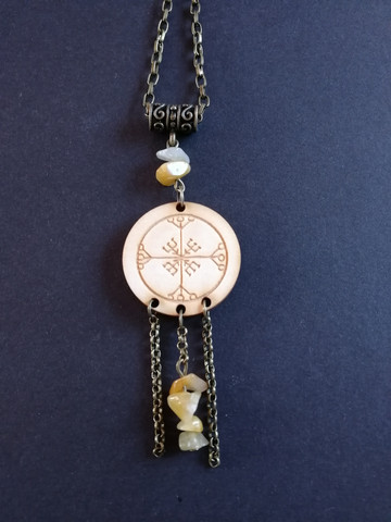 Rune necklace with yellow stones