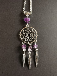 Dreamcatcher necklace with amethyst stones