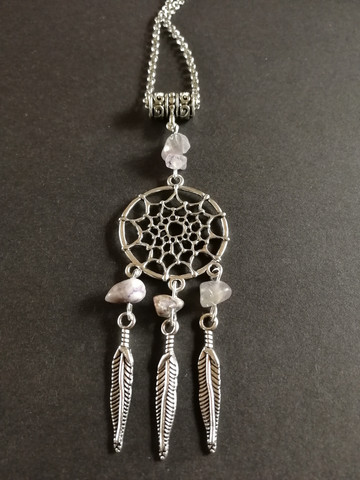 Dreamcatcher necklace grey and violet stones