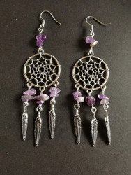 Dreamcatcher earrings with amethyst stonebeads