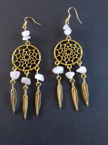 Dreamcatcher earrings with rose quartz stone beads