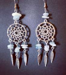 Dreamcatcher earrings with aquamarine stone beads