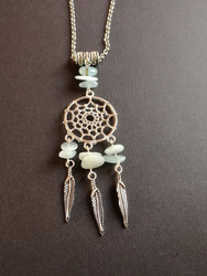 Dreamcatcher necklace with aquamarine stones