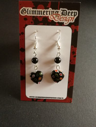 Little black flowery heart earrings