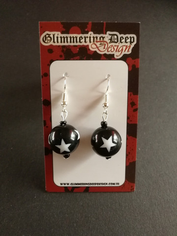 Black Ball Earrings with star