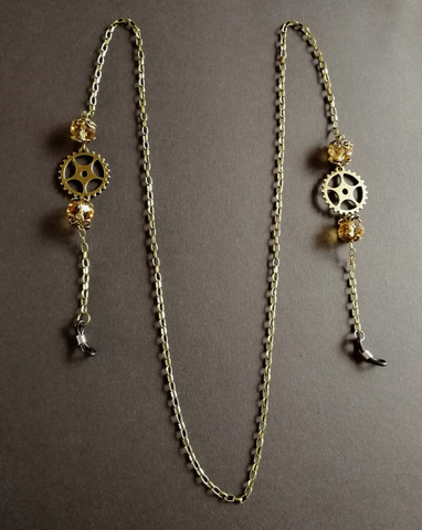 Steampunk chain for glasses with gear and honey beads