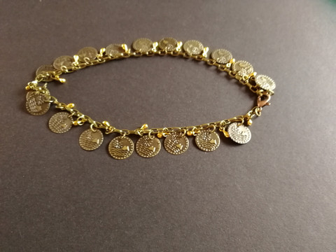 Ankle bracelet with coins and drops
