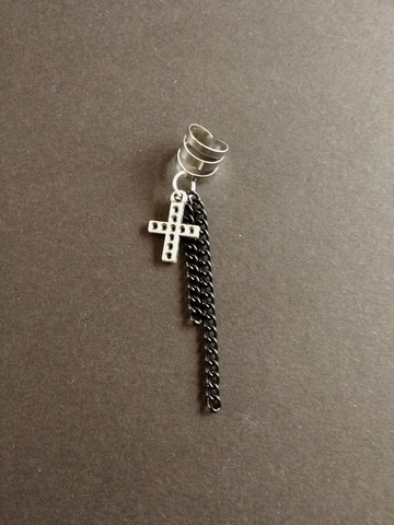 Cross earring with two black chain