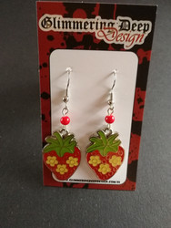 Strawberry earrings with little red beads