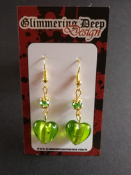 Spring green heart earrings