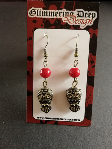 Owl earrings with red beads