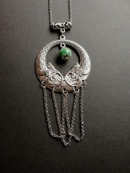 Viking necklace with green stone beads