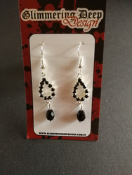 Black drop earrings with strass