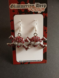 Skull earrings with red strass