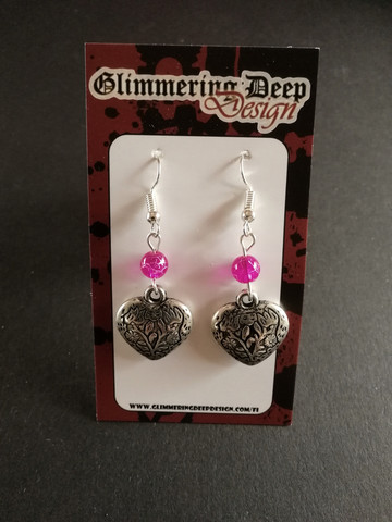Decorated heart earrings with fuchsia beads