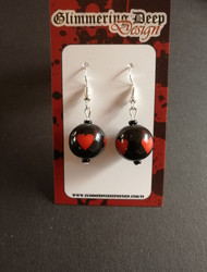 Black Ball Earrings with red hearts