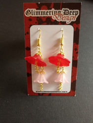 Umbella line Red and light pink earrings