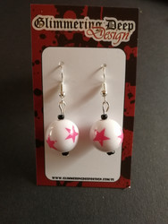 White Ball Earrings with pink star