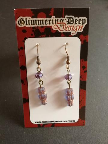Lilac owl earrings