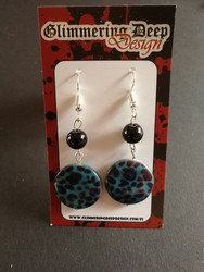 Shell earrings blue panther