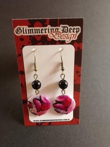 Fuchsia butterfly earrings with flowers