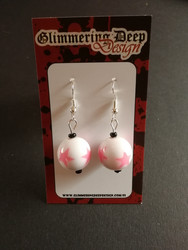White Ball Earrings with light pink star