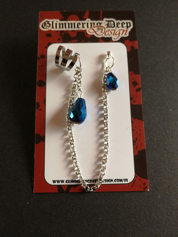 Link-earring with blue droplets