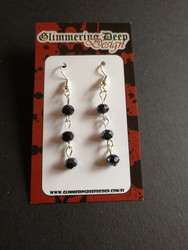 Three black beads earrings