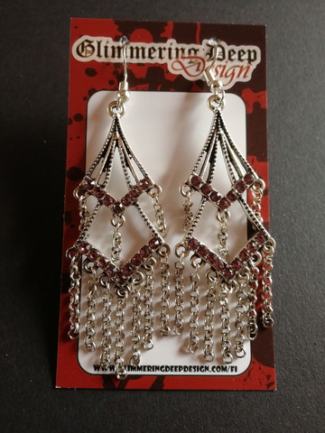 Hanging earrings with pink strass