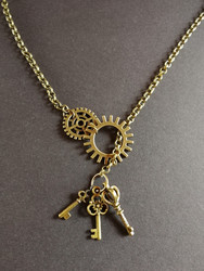 Steampunk necklace with gear and keys