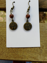 Tree of life earrings with brown stone beads