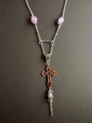Cross necklace violet beads