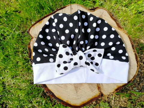 Black bow hat with white dots and white dots bow