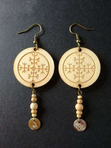 Viking Earrings Protection Rune with clam