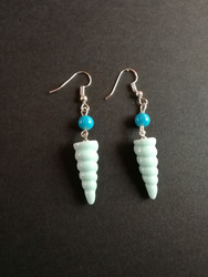 Mint unicorn horn earrings with blue beads